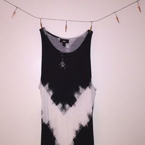 Black and White Cotton Maxi Dress
